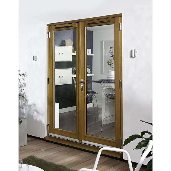 Canberra Laminated Oak Pre-Finished French Doorset - 1800mm Wide