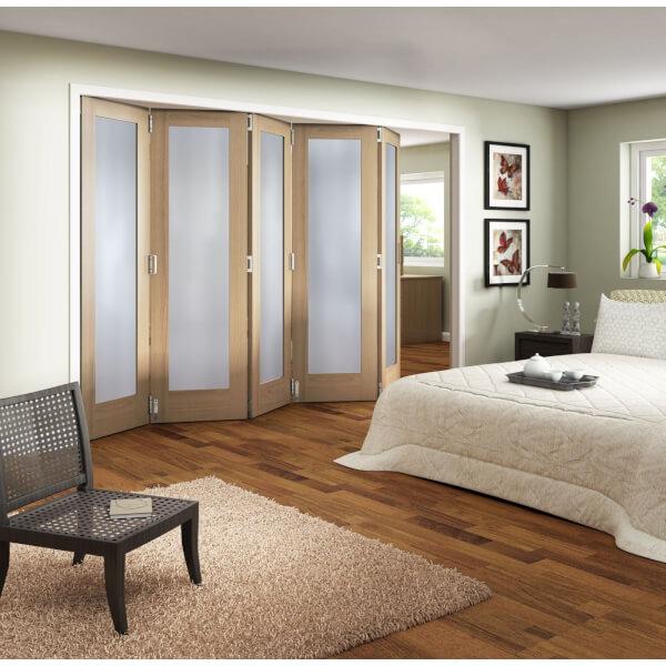 Obscure Glazed Oak Veneer 5 Door Internal Room Divider - 3158mm Wide