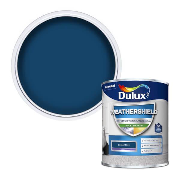Dulux Weathershield Exterior Quick Dry Satin Paint - Oxford Blue - 750ml