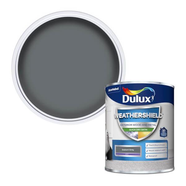 Dulux Weathershield Exterior Quick Dry Satin Paint - Gallant Grey - 750ml