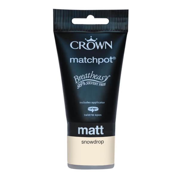Crown Breatheasy Neutrals Snowdrop - Matt Tester Paint - 40ml Tester
