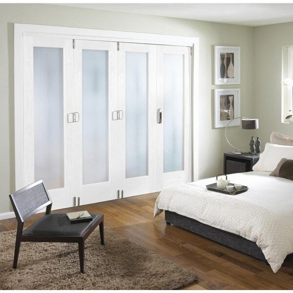 Obscure Glazed White Primed 4 Door Internal Room Divider - 2545mm Wide