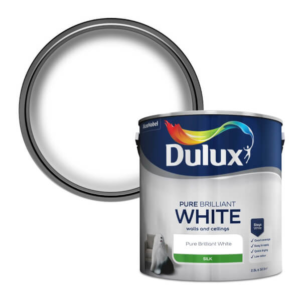Dulux Pure Brilliant White - Silk Emulsion Paint - 2.5L
