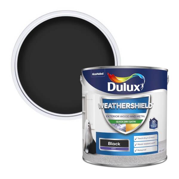 Dulux Weathershield Exterior Quick Dry Satin Paint - Black - 2.5L