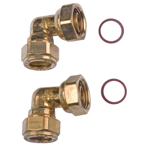 Compression Bent Tap Connector - Brass - 15mm - 0.5in