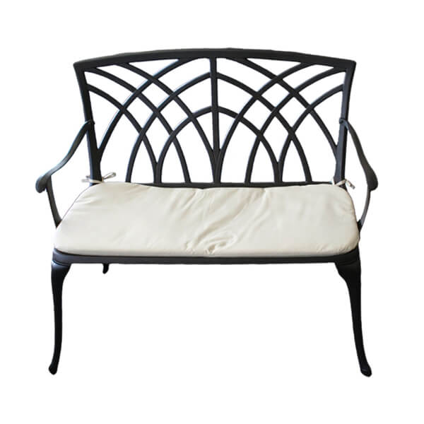 Charles Bentley Cast Aluminium Metal 2 Seater Garden Black Bench & Cream Cushion