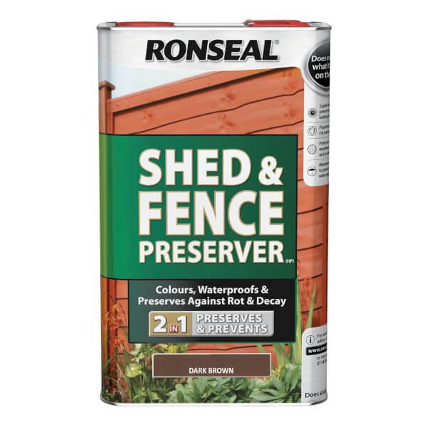 Ronseal Shed & Fence Preserver - Dark Brown - 5L