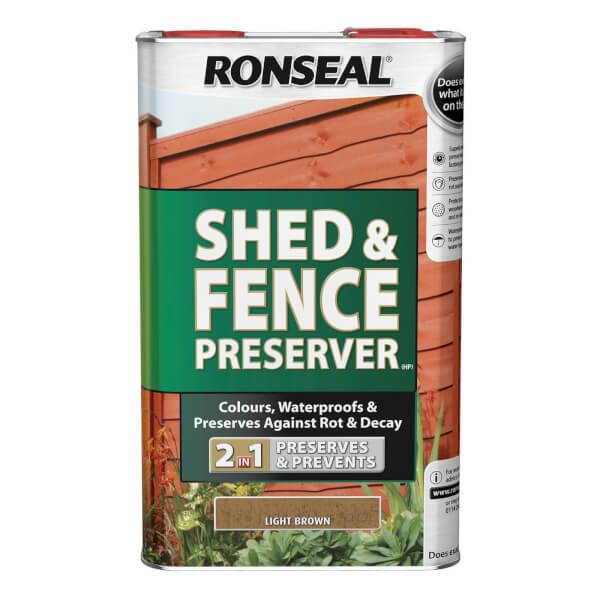 Ronseal Shed & Fence Preserver - Light Brown - 5L