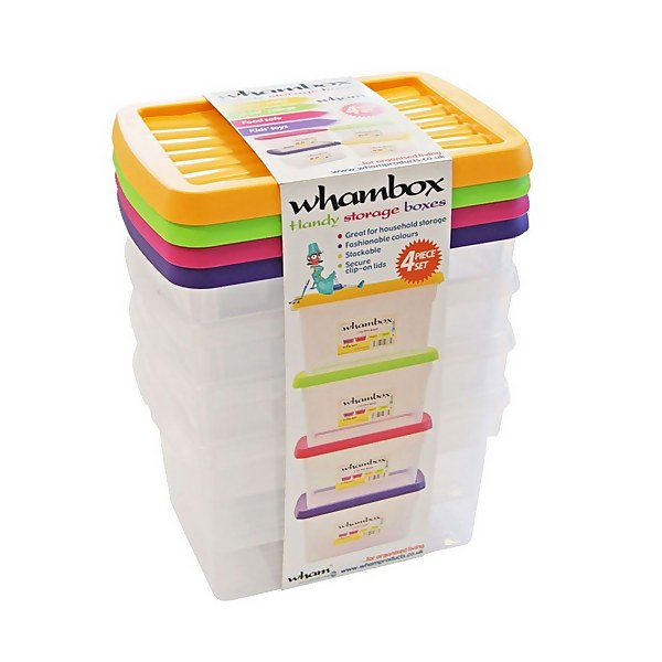 Whambox 4 Piece Handy Storage Boxes - 1.5L