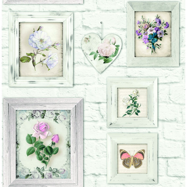 Fresco Floral Frames Wallpaper