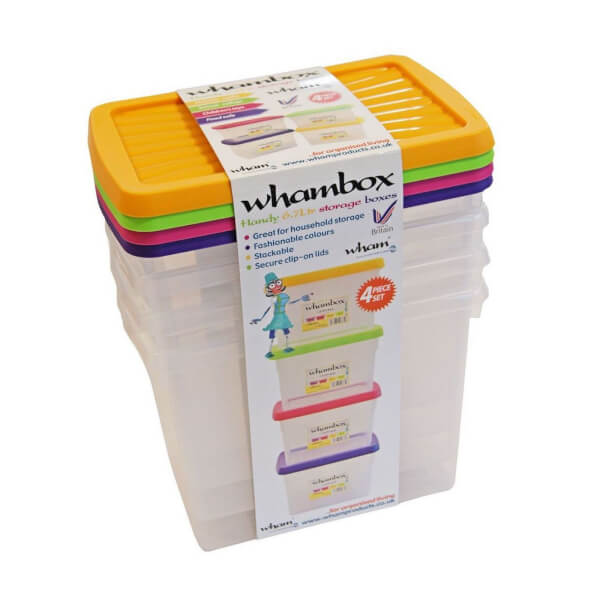 Whambox Set of 4 Handy Storage Boxes - 6.7L