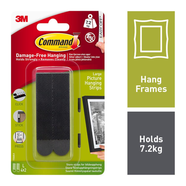 Command Large Black Picture Hanging Strips