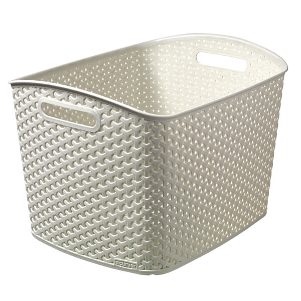 Curver My Style Extra Large Rectangular Plastic Storage Basket - Vintage White 28L