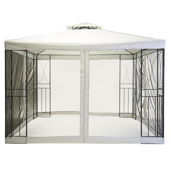 Charles Bentley Steel Garden Gazebo with Fly Screen - 3x3M / Cream