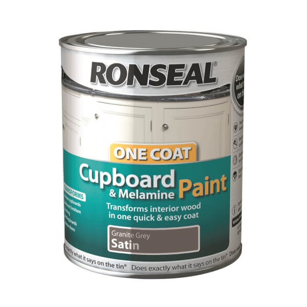 Ronseal One Coat Cupboard and MDF Paint Granite Grey - 750ml