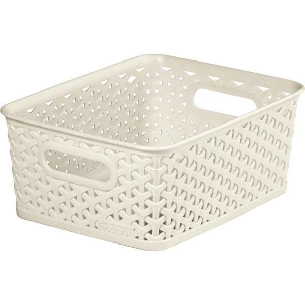 Curver My Style Small Rectangular Plastic Storage Basket - Vintage White - 4L
