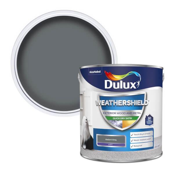 Dulux Weathershield Exterior Quick Dry Satin Paint - Gallant Grey - 2.5L