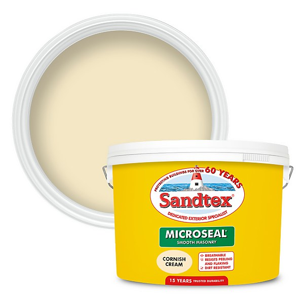 Sandtex Ultra Smooth Masonry Paint - Cornish Cream - 10L