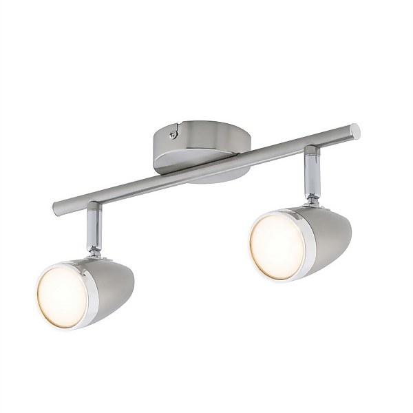 Vector 2 Bar LED Satin Nickel Spotlight