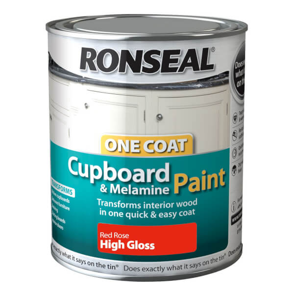 Ronseal One Coat Cupboard Melamine & MDF Paint Red Rose High Gloss 750ml