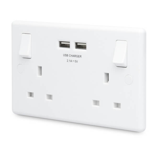 13A Double Switch Power Socket with USB Charging - Round Edge