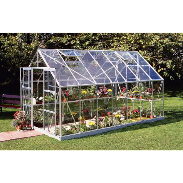 Halls 14 x 8ft Aluminium Magnum Silver Greenhouse with Horticultural Glass & Base