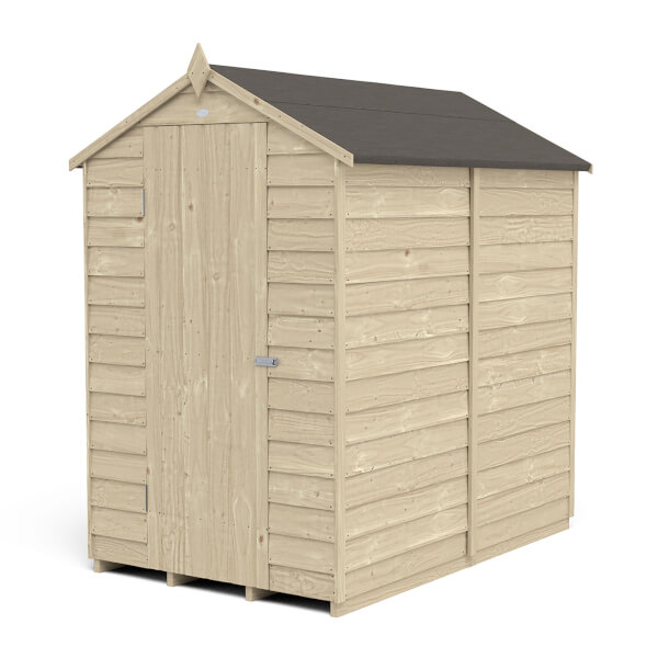 6x4ft Forest Overlap Pressure Treated Apex Shed - No Window