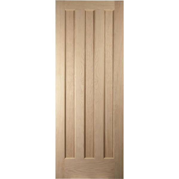 Aston 3 Panel White Oak Veneer Internal Door - 826mm Wide