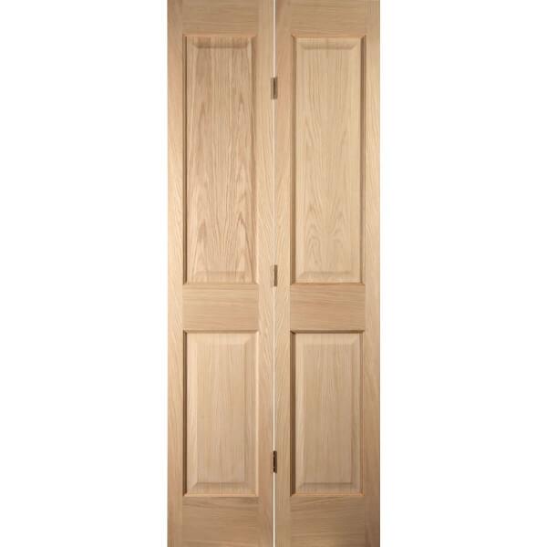 4 Panel White Oak Veneer Internal Bi-Fold Door - 762mm Wide