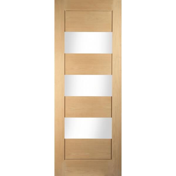 Horizontal 3 Lite White Oak Veneer Internal Door - 686mm Wide