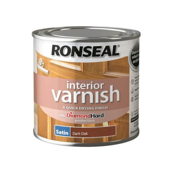 Ronseal Interior Varnish Satin Dark Oak - 250ml
