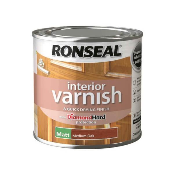 Ronseal Interior Varnish Matt Medium Oak - 250ml