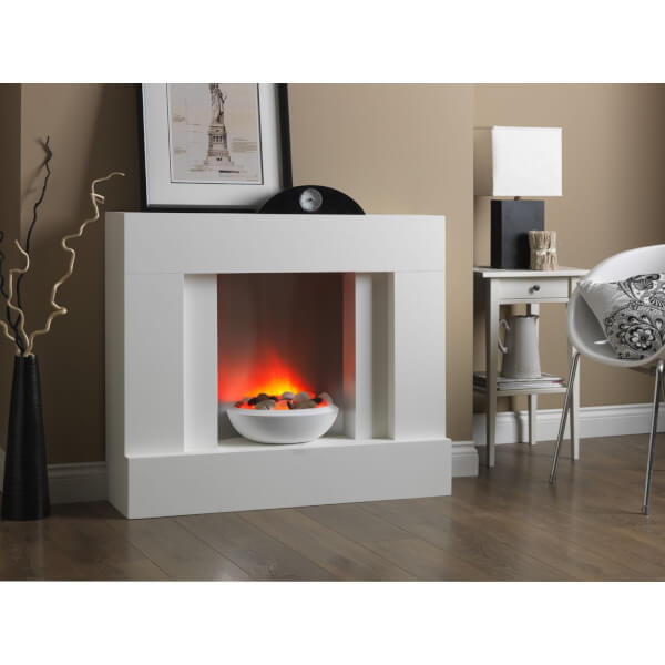 Suncrest Eclipse Electric Fireplace Suite - White