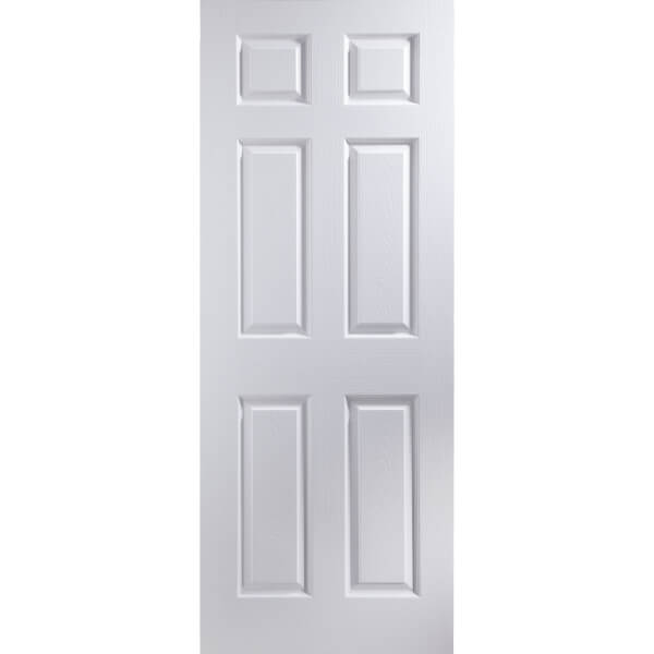 Colonial 6 Panel Primed Woodgrain Internal Door - 762mm Wide