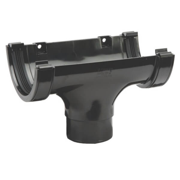 Polypipe Half Round Gutter Running Outlet - 112mm - Black