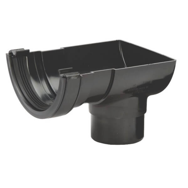 Polypipe Half Round Stop End Outlet - 112mm - Black
