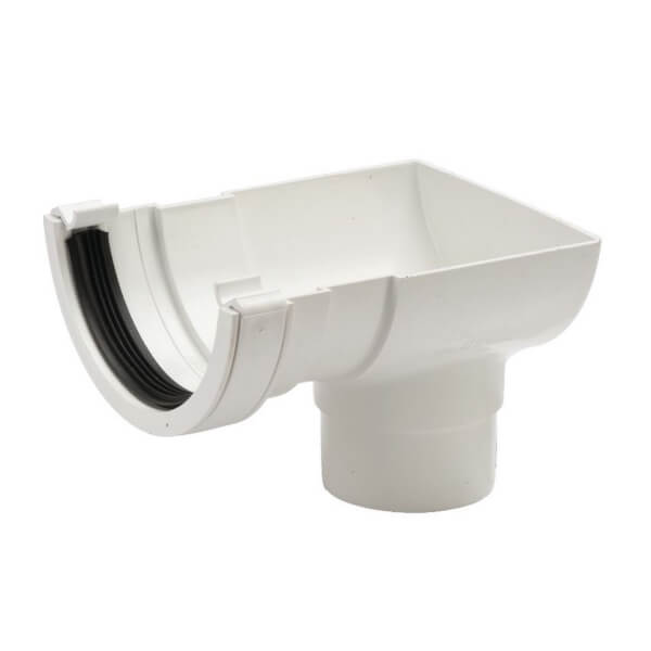 Polypipe Half Round Stop End Outlet - 112mm - White