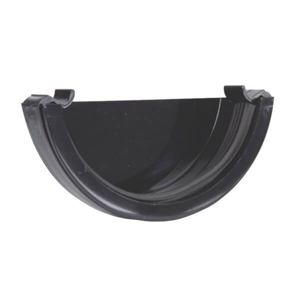 Polypipe Half Round Gutter Stop End External - 112mm - Black