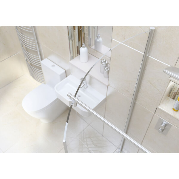 Wet Room Kit with 1050mm Curved Glass Panel & 1000mm Tray