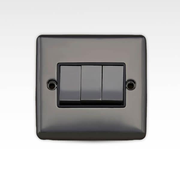 Arlec Metal Screwed 10 Amp 3 Gang 2 Way Switch Black Nickel