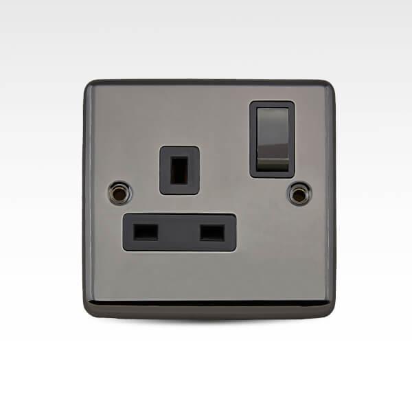 Arlec Metal Screwed 13 Amp 1 Gang Switched Socket Black Nickel