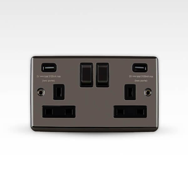 Arlec Metal Screwed 13 Amp 2 Gang Switched Socket with 2 x 3.A USB Black Nickel