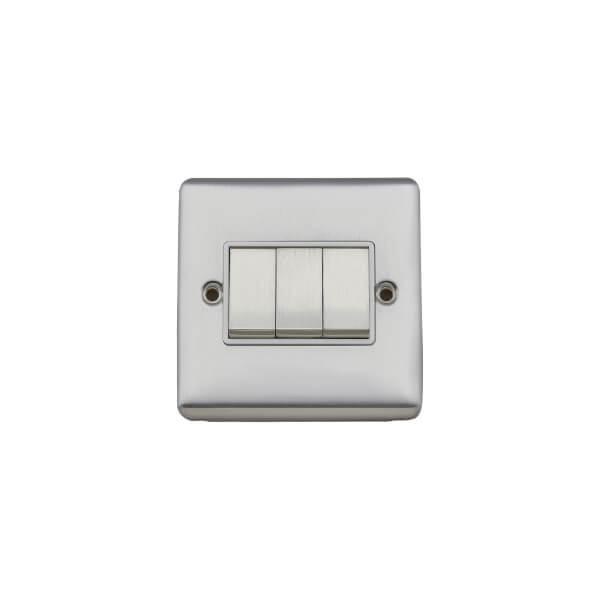 Arlec Metal Screwed 10 Amp 3 Gang 2 Way Switch Polished Chrome