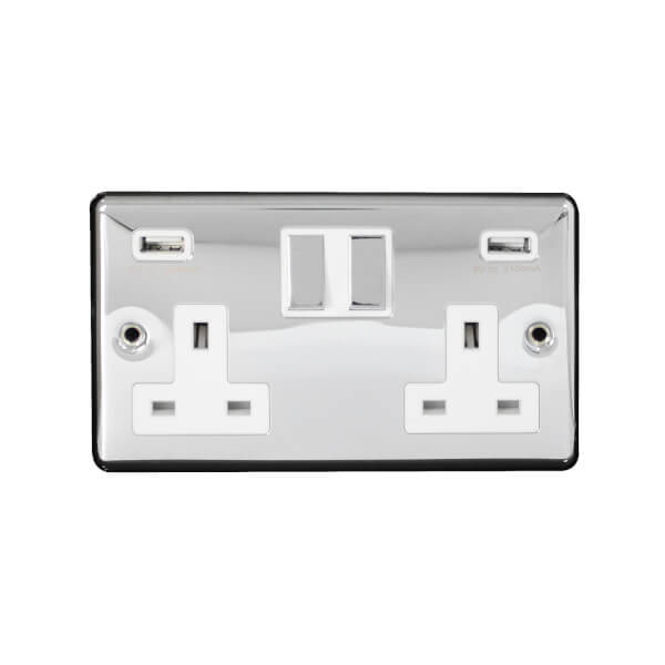 Arlec Metal Screwed 13 Amp 2 Gang Switched Socket with 2 x 3.A USB Polished Chrome