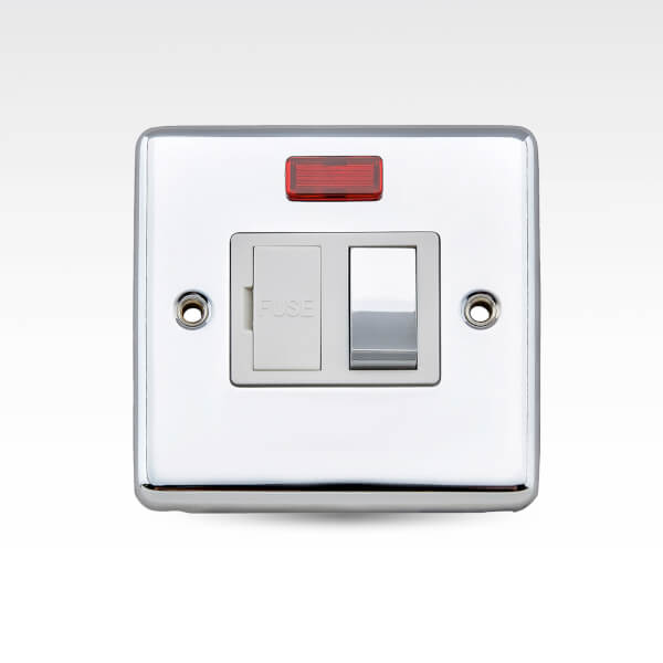 Arlec Metal Screwed 13 Amp Switched Fuse Connection Unit with Neon Polished Chrome