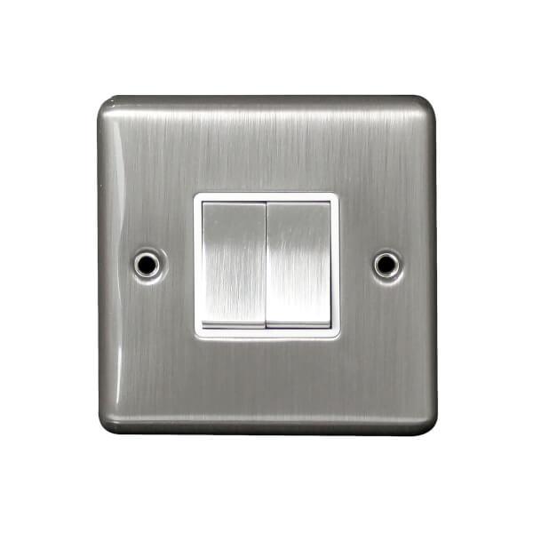 Arlec Metal Screwed 10 Amp 2 Gang 2 Way Switch Stainless Steel