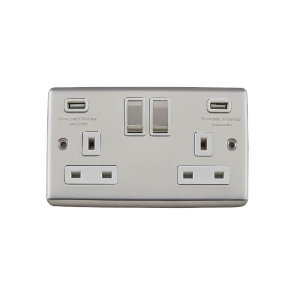 Arlec Metal Screwed 13 Amp 2 Gang Switched Socket with 2 x 3.A USB Stainless Steel