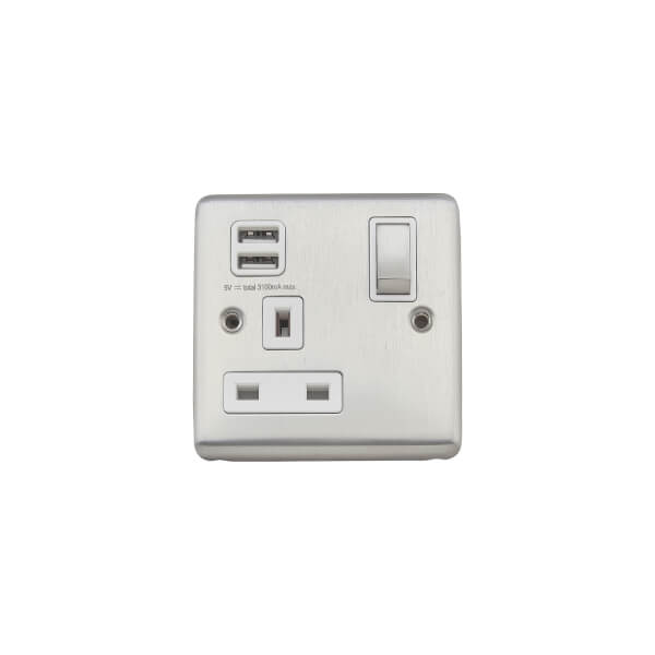 Arlec Metal Screwed 13 Amp 1 Gang Switched Socket with 2 x 2.1 Amp USB Stainless Steel
