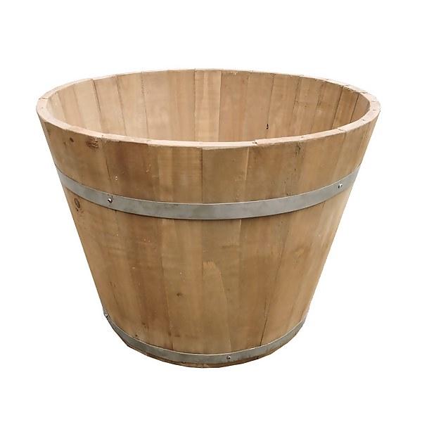 Wooden Barrel Plant Pot - 30cm