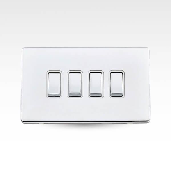 Arlec Metal Screwless 10 Amp 4 Gang 2 Way Switch Polished Chrome